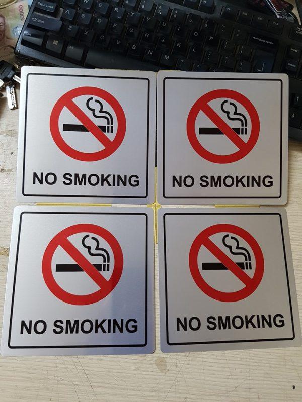 Biển báo cấm hút thuốc , biển báo no smoking chất liệu innox