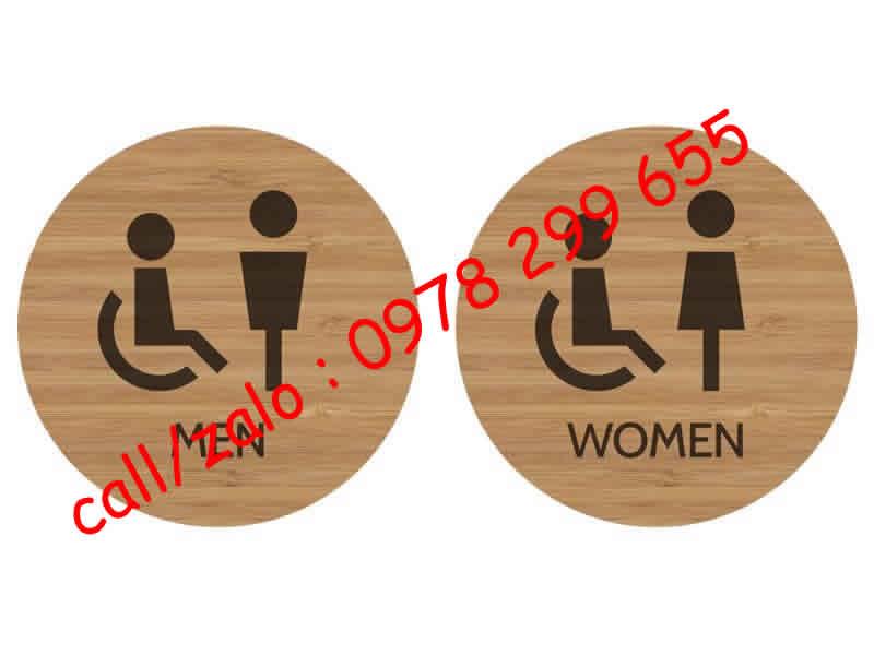 Mẫu biển nhà vệ sinh , biển wc bằng gỗ