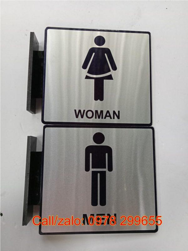 Biển chỉ dẫn wc, restroom nằm ngang